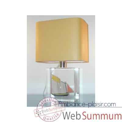 Petite Lampe Rectangle Lougre Jaune Abat-jour Rectangle Jaune-108
