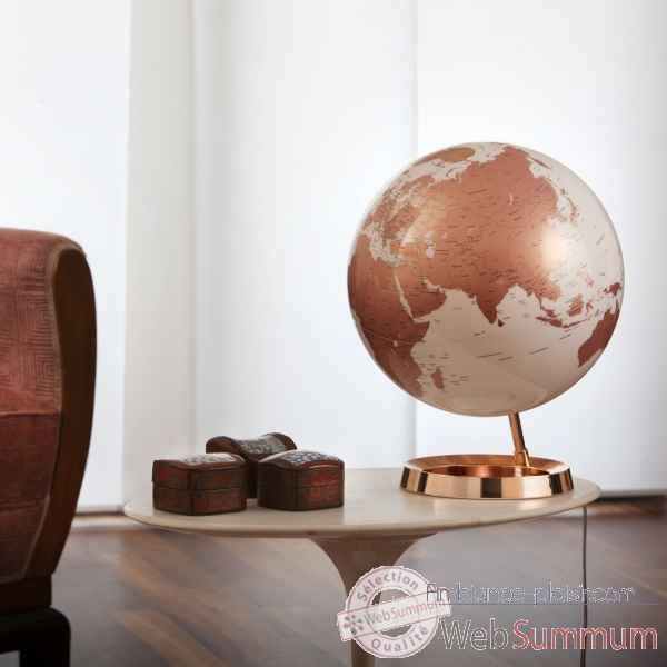 Globe lumineux light and colour metal cuivre en anglais