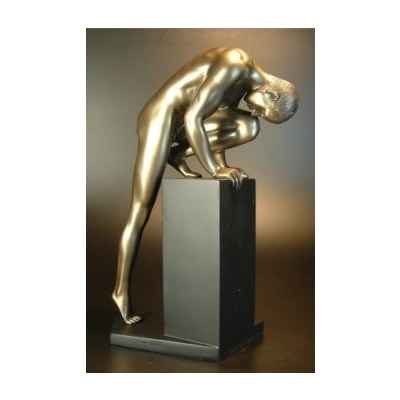 Figurine Bronze Homme Stretching on pedestal Body Talk -WU72471