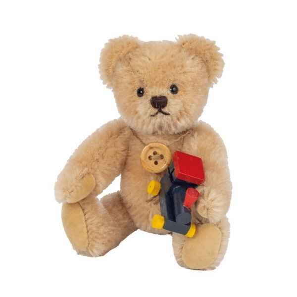 Peluche ours mohair miniature original hermann teddy avec locomotive 11 cm -15479 2
