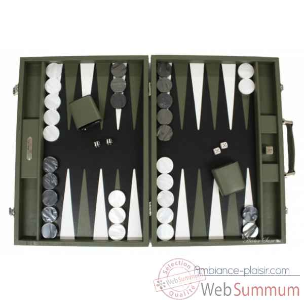 Backgammon baptiste cuir buffle competition amande -B652-a