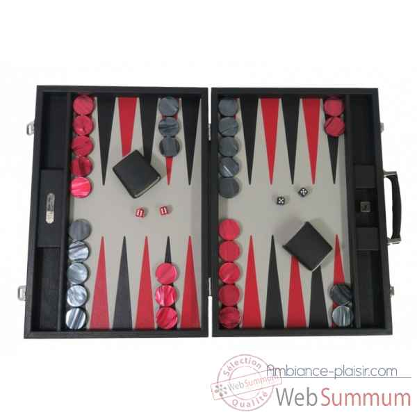 Backgammon baptiste cuir buffle competition noir -B652-n