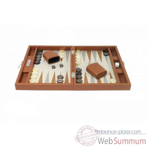 Backgammon basile toile buffle medium chataigne -B20L-c -2