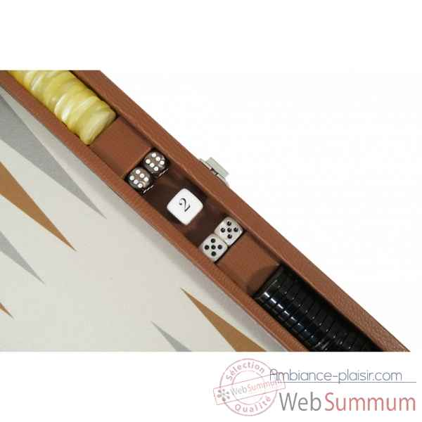 Backgammon basile toile buffle medium chataigne -B20L-c -3
