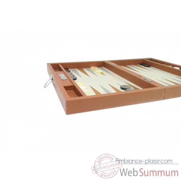 Backgammon basile toile buffle medium chataigne -B20L-c -4