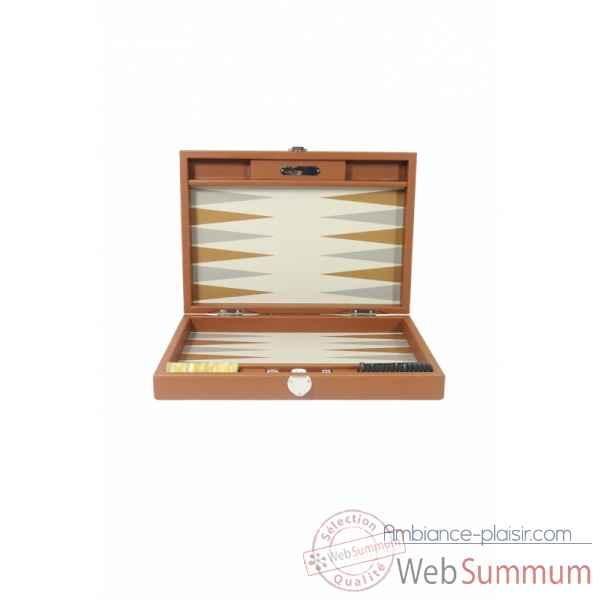 Backgammon basile toile buffle medium chataigne -B20L-c -5