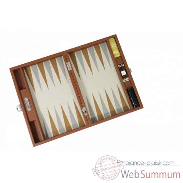 Backgammon basile toile buffle medium chataigne -B20L-c -6