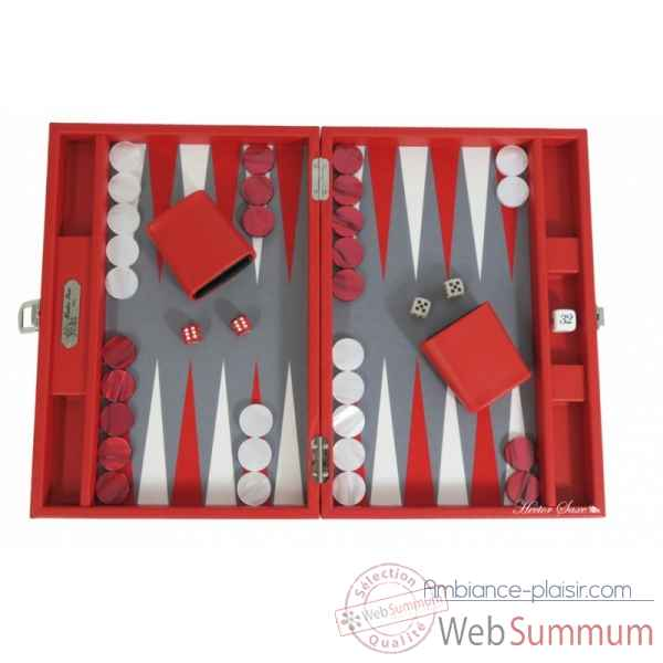 Backgammon basile toile buffle medium rouge -B20L-r