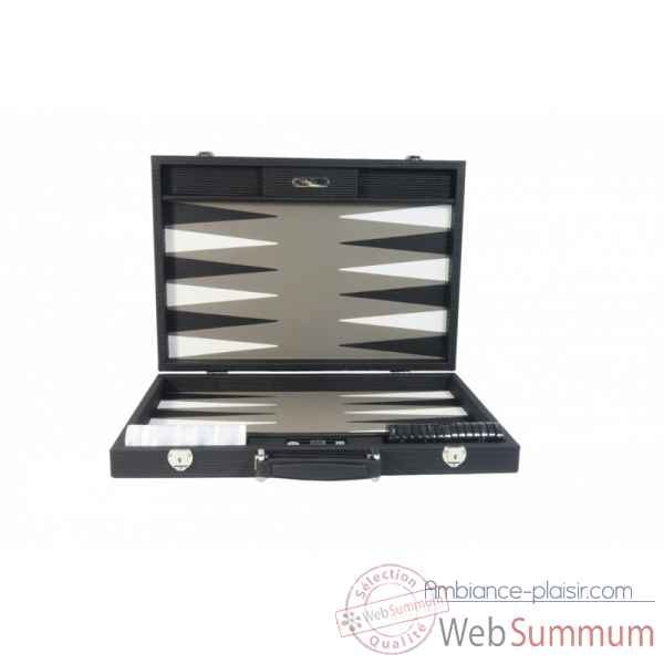 Backgammon camille cuir couture competition noir -B671L-n -1