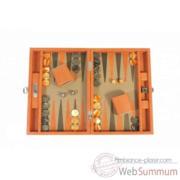 Backgammon camille cuir couture medium orange -B71L-o