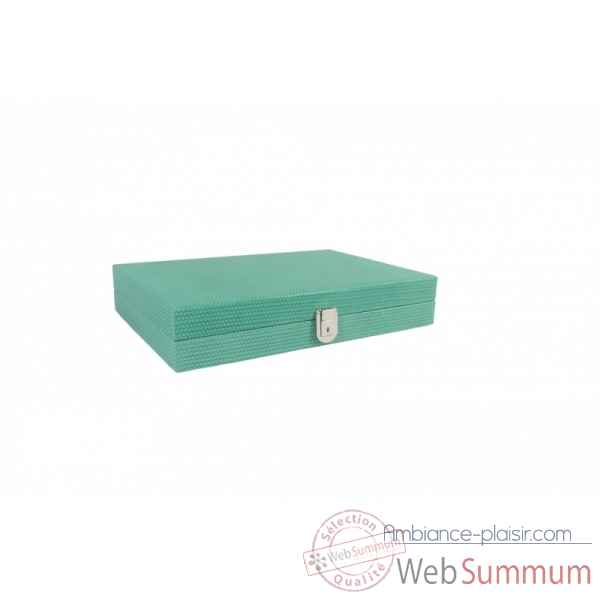 Backgammon camille cuir couture medium turquoise -B71L-tu -9