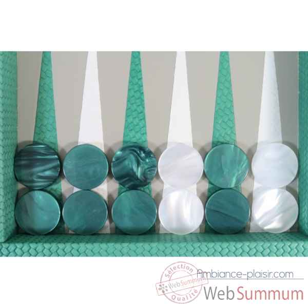 Backgammon camille cuir couture medium turquoise -B71L-tu -3