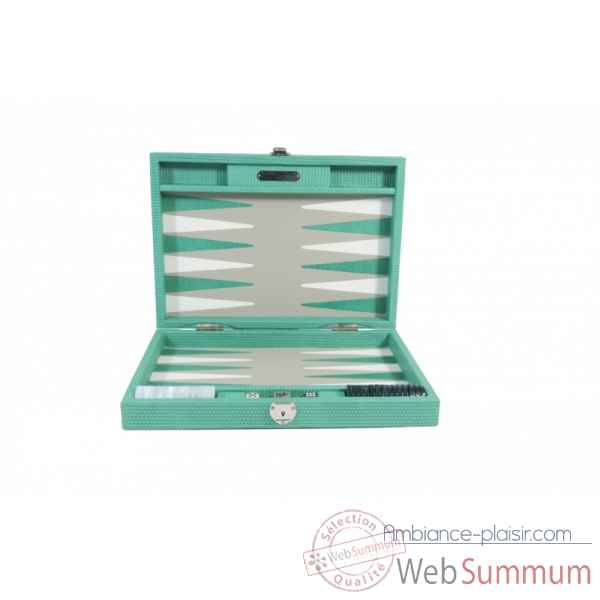 Backgammon camille cuir couture medium turquoise -B71L-tu -4