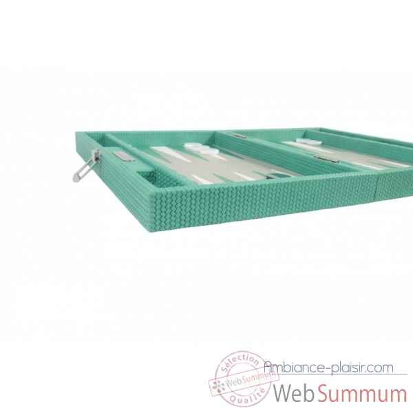 Backgammon camille cuir couture medium turquoise -B71L-tu -5