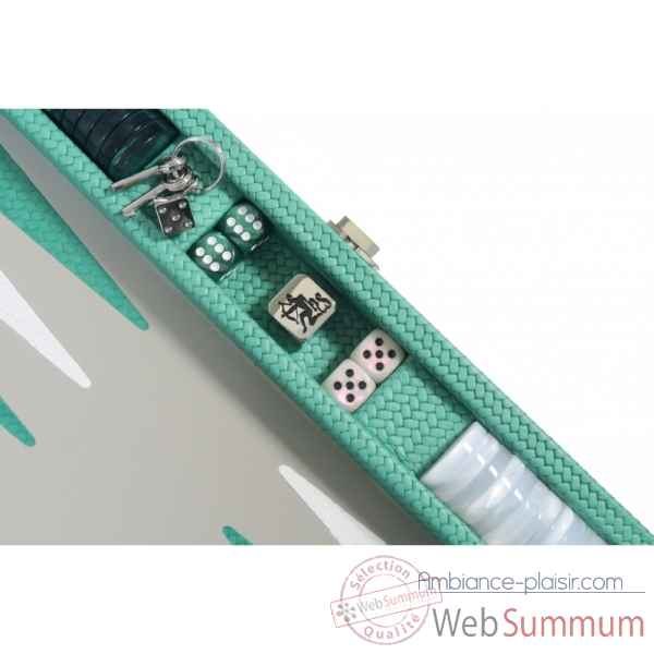 Backgammon camille cuir couture medium turquoise -B71L-tu -6