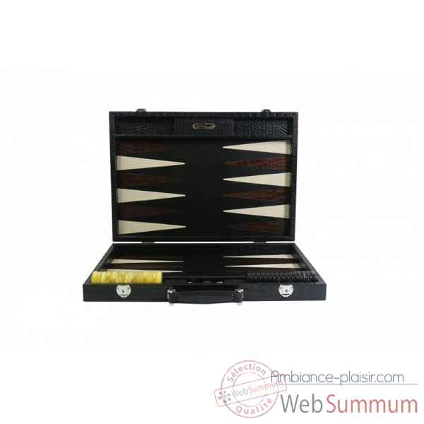 Backgammon charles cuir impression crocodile competition noir -B658-n -1