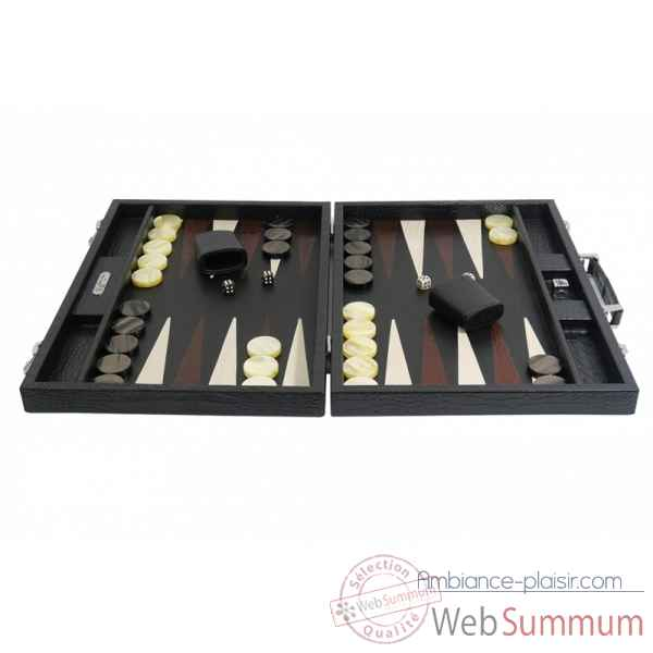 Backgammon charles cuir impression crocodile competition noir -B658-n -5