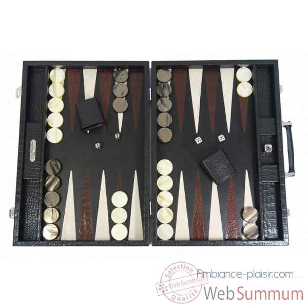 Backgammon charles cuir impression crocodile competition noir -B658-n