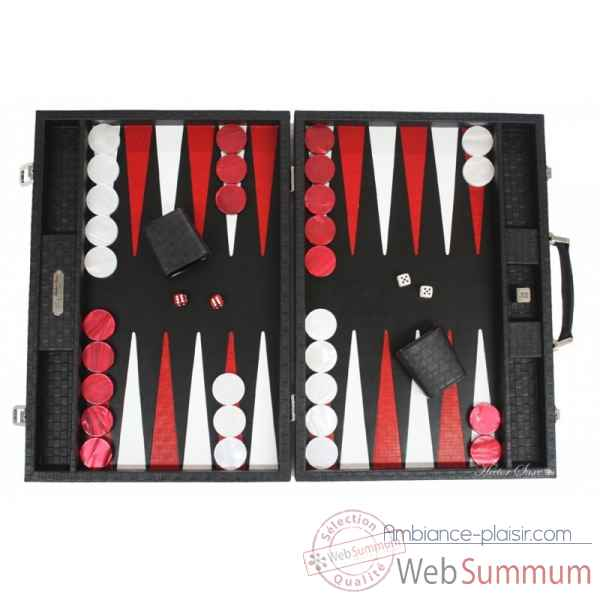 Backgammon noe cuir natte competition noir -B667-n