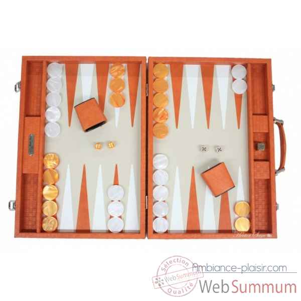 Backgammon noe cuir natte competition orange -B667-o