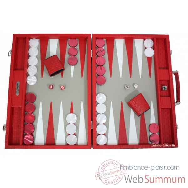 Backgammon noe cuir natte competition rouge -B667-r