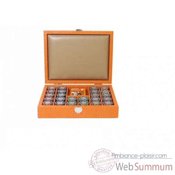 Coffret poker cuir natte orange -C803C-o