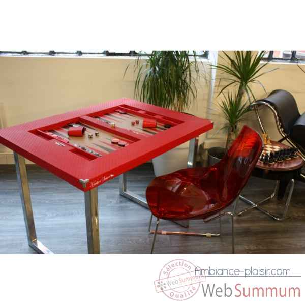 Table de backgammon cuir natte rouge -TAB1003C-r
