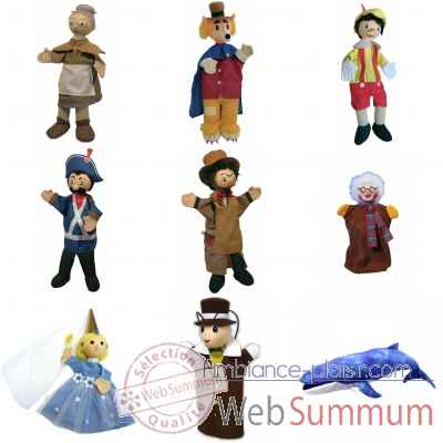 Marionnettes a main tissus lot personnages Pinocchio -LWS-527