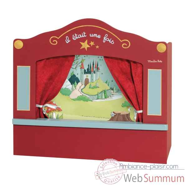 Theatre marionnette de table en bois rouge, 1 decors Moulin Roty -711304