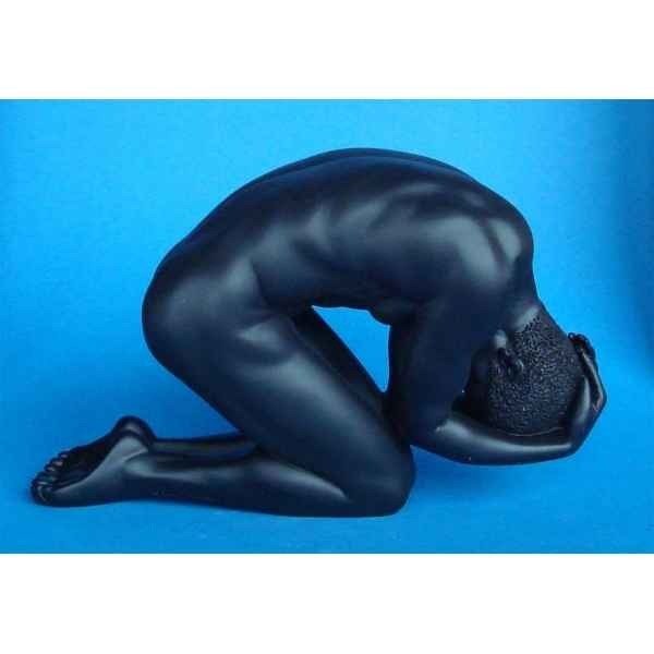 Figurine body talk -homme 2 hands head kneeling black - bt26
