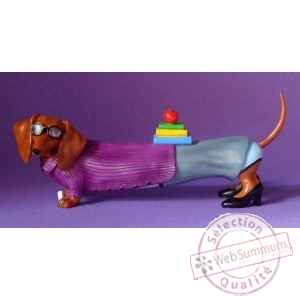 Figurine hot diggity chien teckel teacher  - hot16481