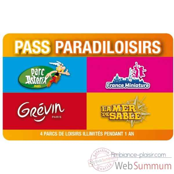 Pass Paradiloisirs - Parc Asterix-Musee Grevin-France Miniature-Mer de Sable-  Pass-famille annuel