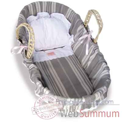Couffin 50 cm garnissage rayures, reversible Petitcollin -800099