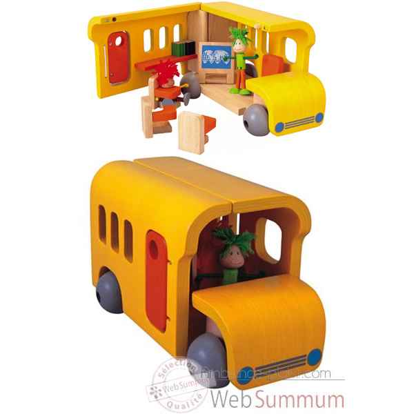 Bus ecole mobile en bois - Plan Toys 7503