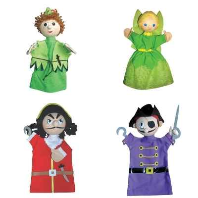 Promotion ensemble 4 marionnettes Peter Pan, fee Clochette, Crochet et Pirate -LWS-252
